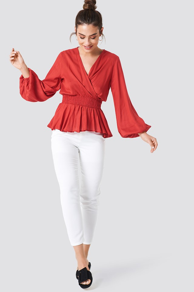 Romantic Blouse with White Pants