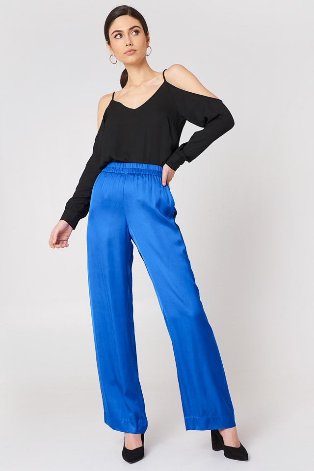 Cold Shoulder Top with Wide-Leg Pants
