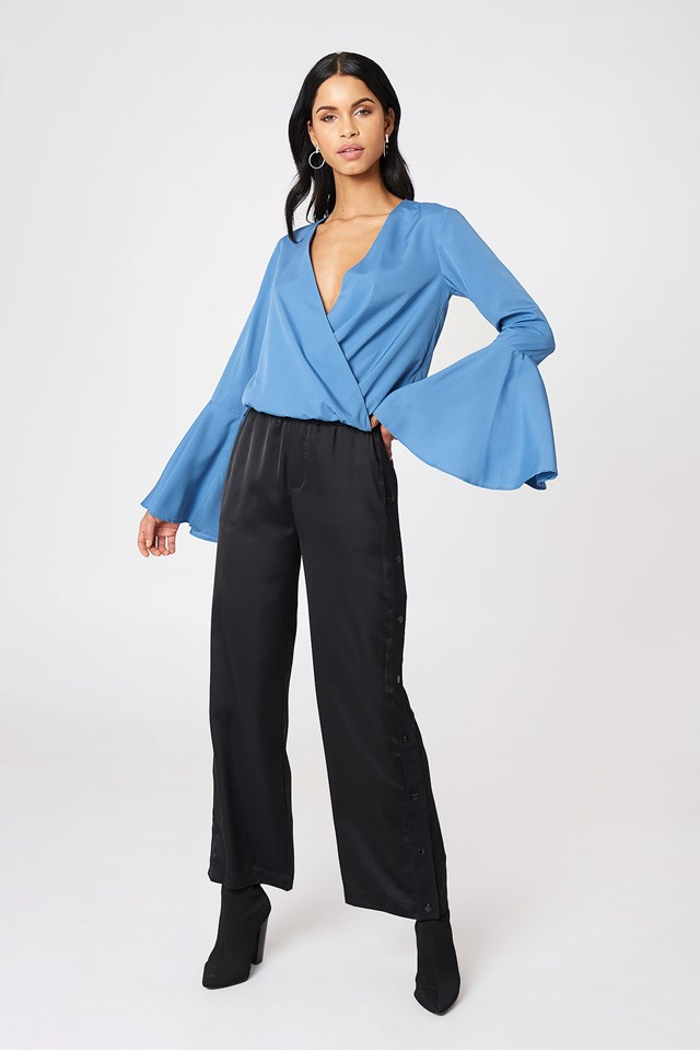 Wide Sleeve Blouse with Tailored Pants