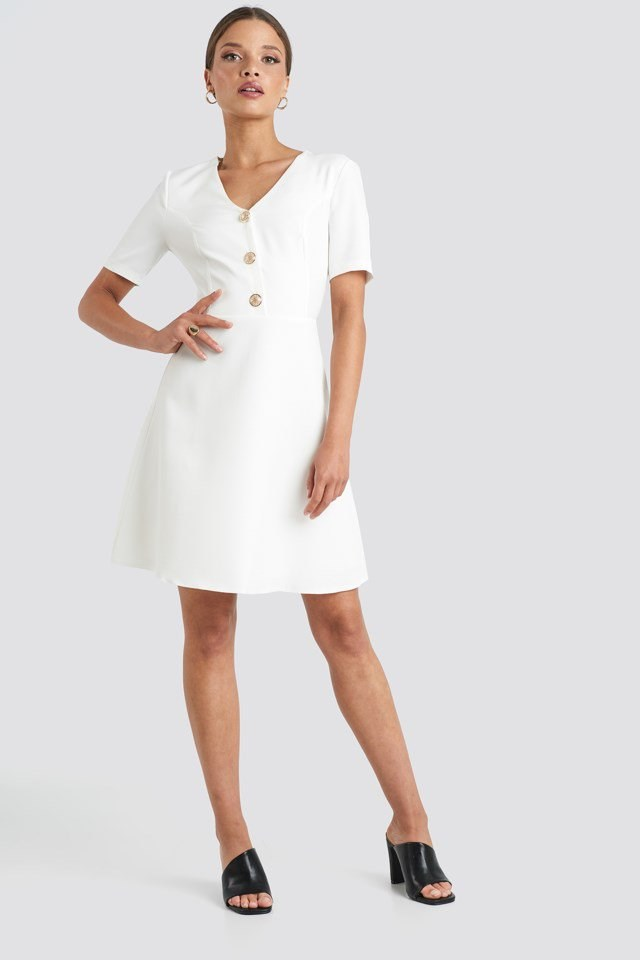 V-Neck Front Button Mini Dress White Outfit