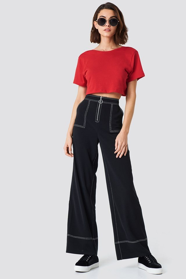 Cropped Top with Wide Pants