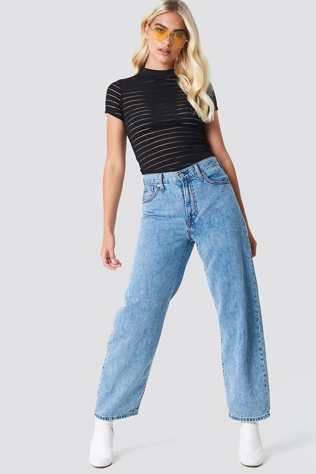 Mesh Party Top with Washed Jeans