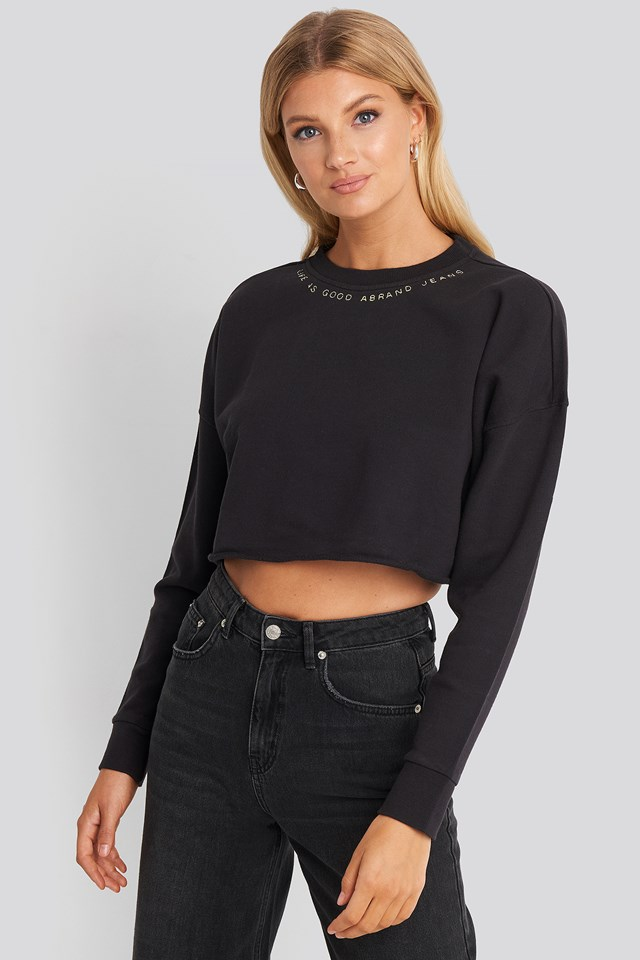 A Cropped Oversized Sweater Faded Black