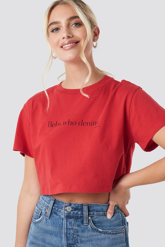 A Get Up Cropped Tee Cherry
