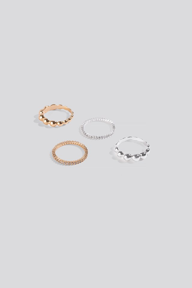4-pack Rings Silver/Gold