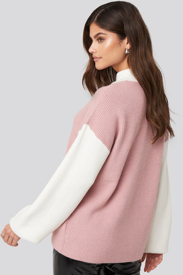Blocked Knitted Sweater Pink/White