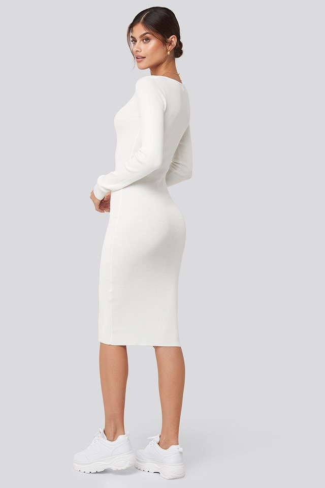 Deep V-Neck Rib Dress White