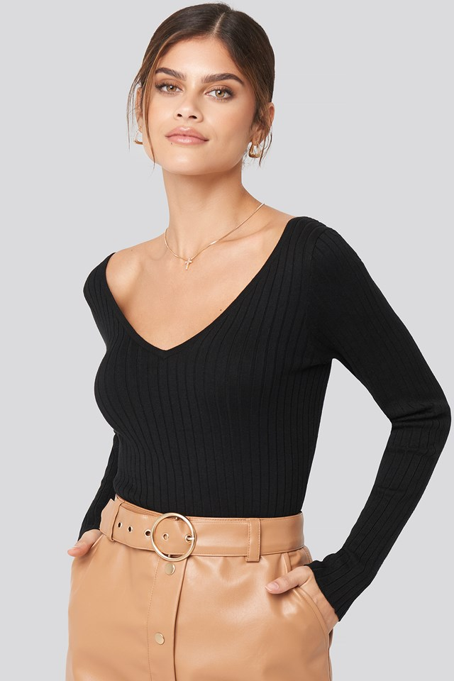 Deep V-Neck Rib Top Adorable Caro x NA-KD