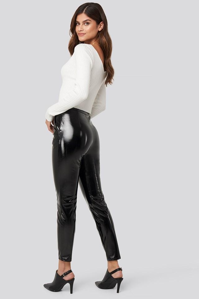 Highwaist Patent Pants Black