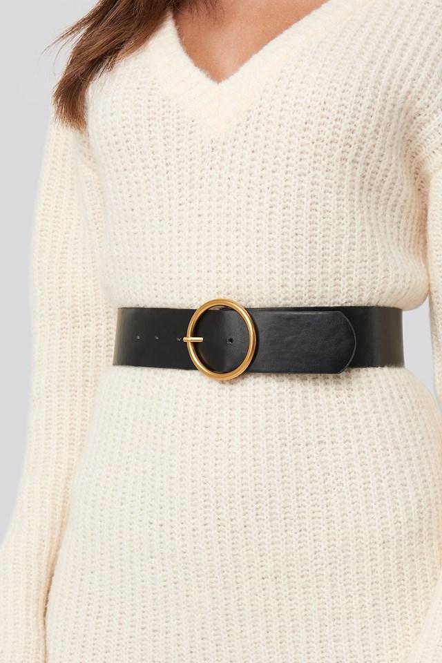 Metal Ring Belt Black