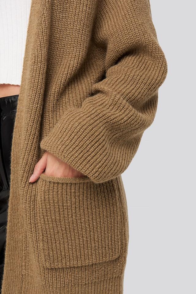 Oversized Pocket Cardigan Tan