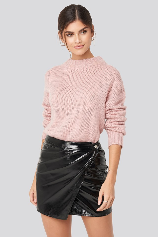 Patent Overlap  Mini Skirt Black