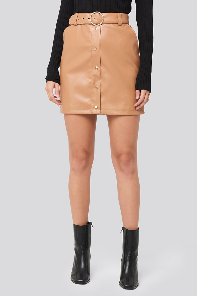 PU Button Detail Skirt Tan
