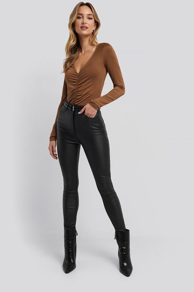 Belt Detail Waxed Pants Adorable Caro x NA-KD