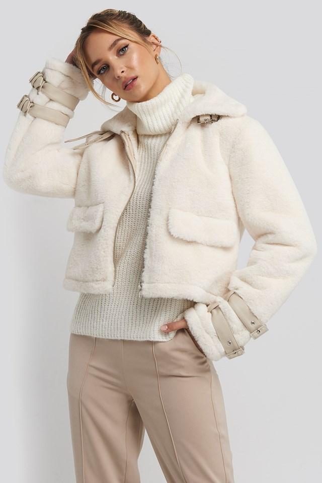 Faux Fur Cropped Jacket Cream