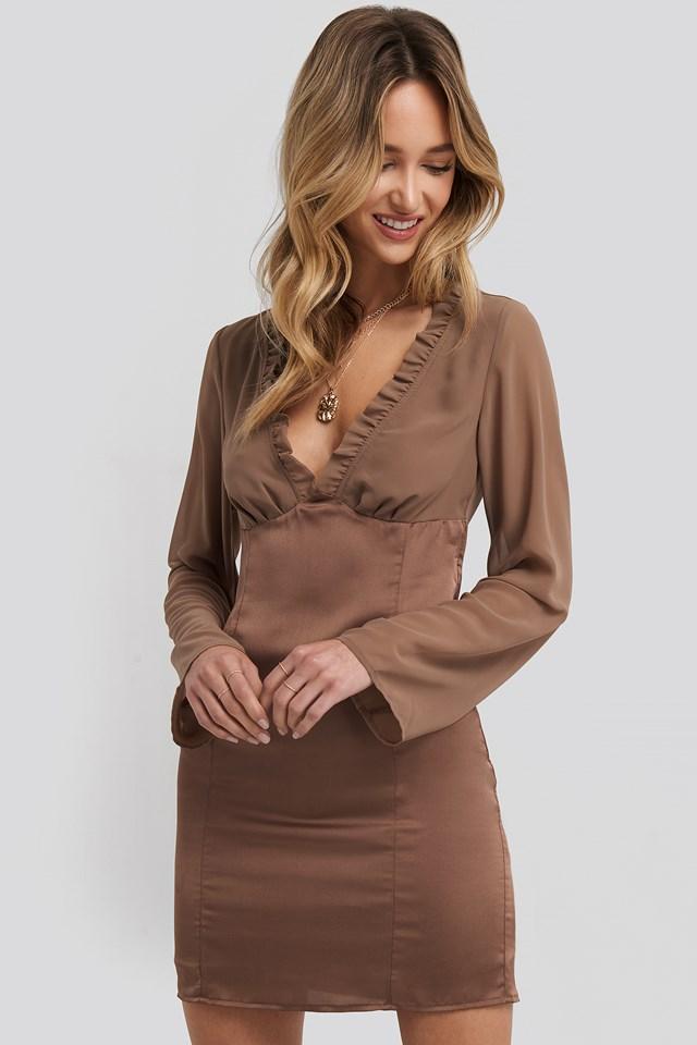 Ruched Neckline Bodycon Dress Chocolate