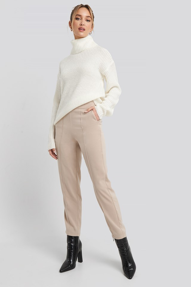 Highwaist Shiny Suit Pants Taupe