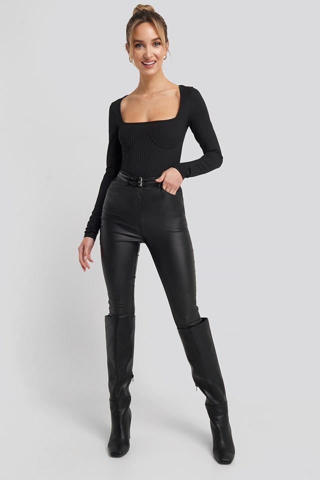 Long Sleeve Cup Body Black