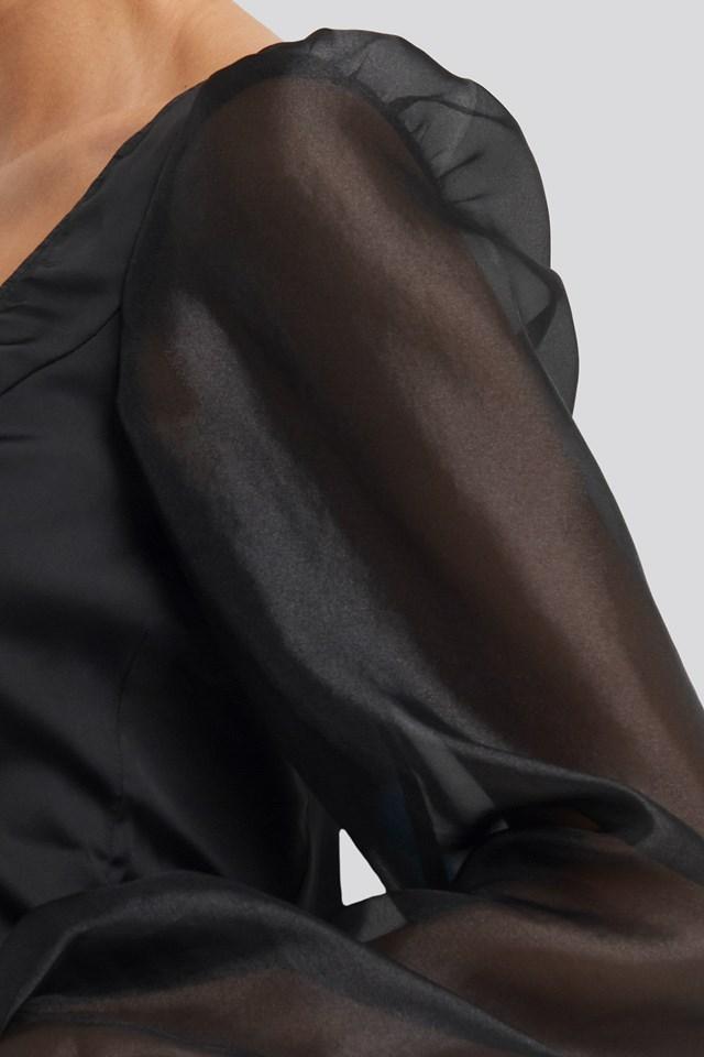 Organza Puff Sleeve Blouse Black