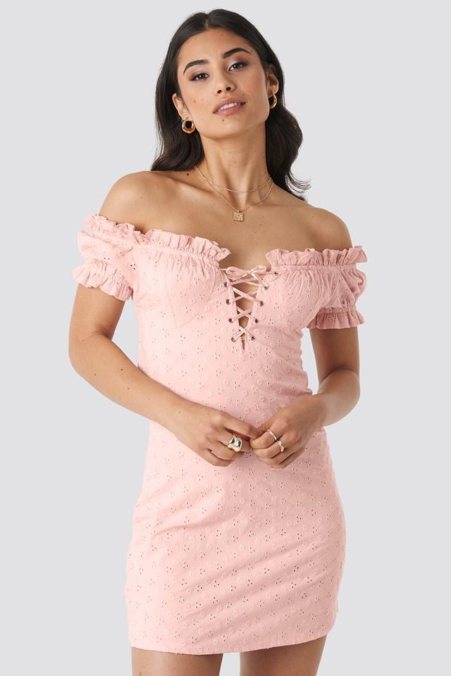 Off Shoulder Lacing Cup Dress Pastel Pink
