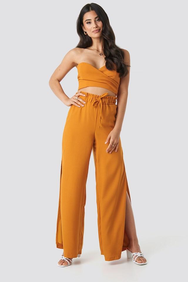 Side Slit Wide Pants Orange