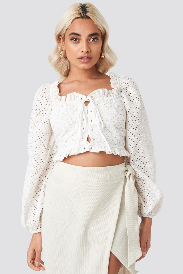 Broderie Anglais Crop Top Stone