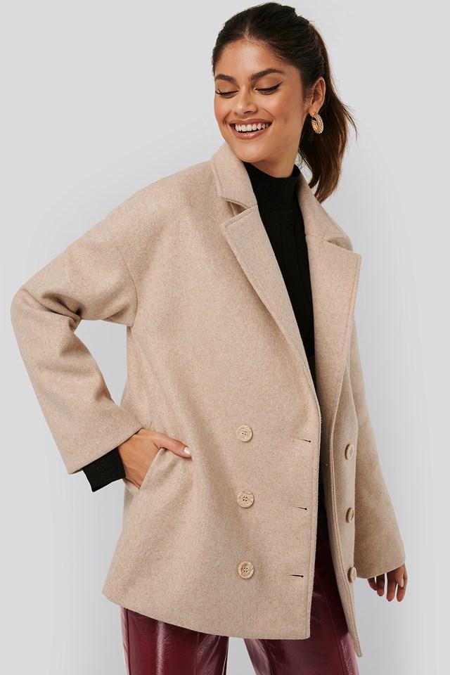 Buttoned Soft Blazer Jacket Beige