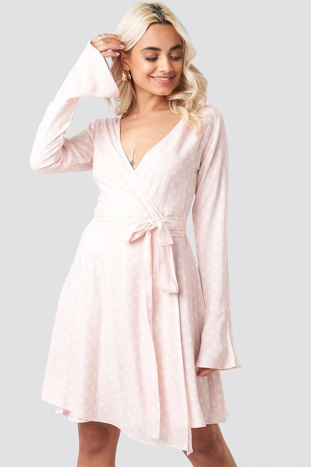 Dot Print Wrap Mini Dress Pink