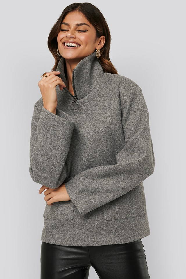 Felted pocket jacket Grey