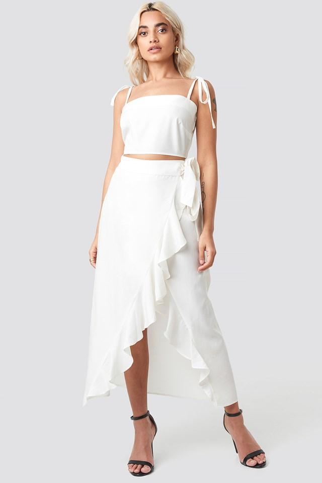 Ruffle Wrap Midi Skirt Stone