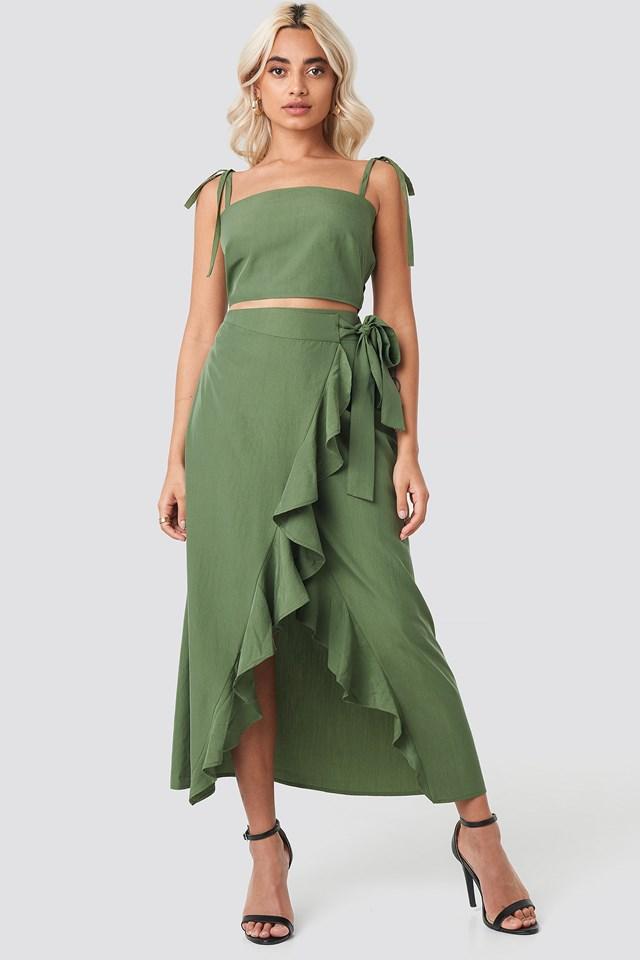 Ruffle Wrap Midi Skirt Khaki