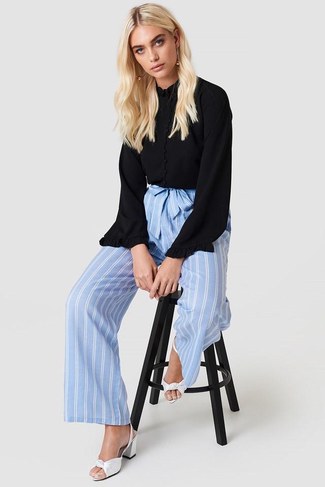 High Waist Front Knot Pants Blue Stripe