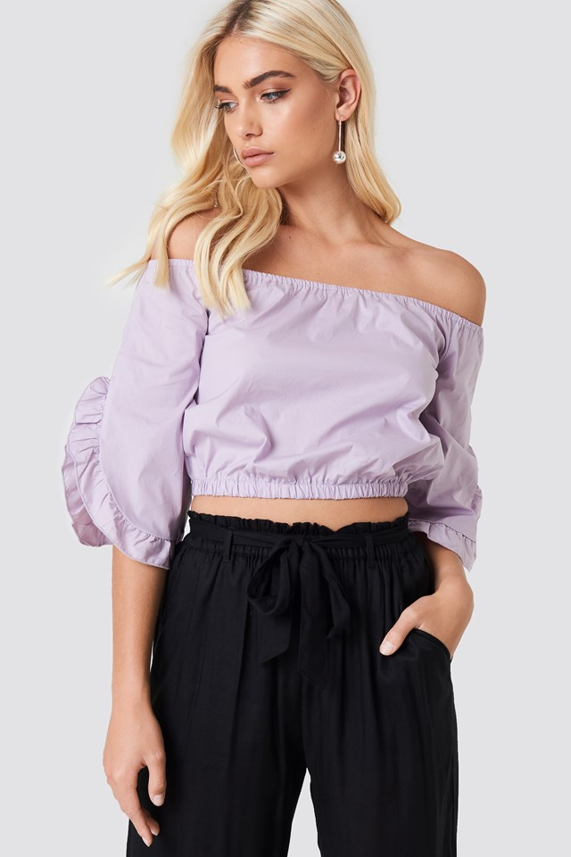 Off Shoulder Flare Frill Top Dusty Lilac
