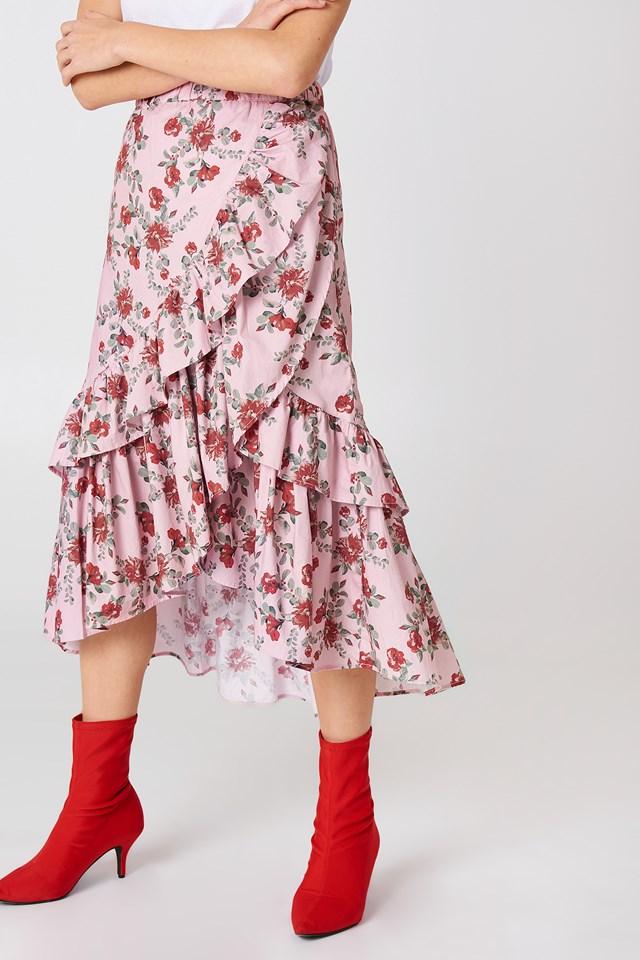 Overlap Maxi Frill Skirt Pink Flower