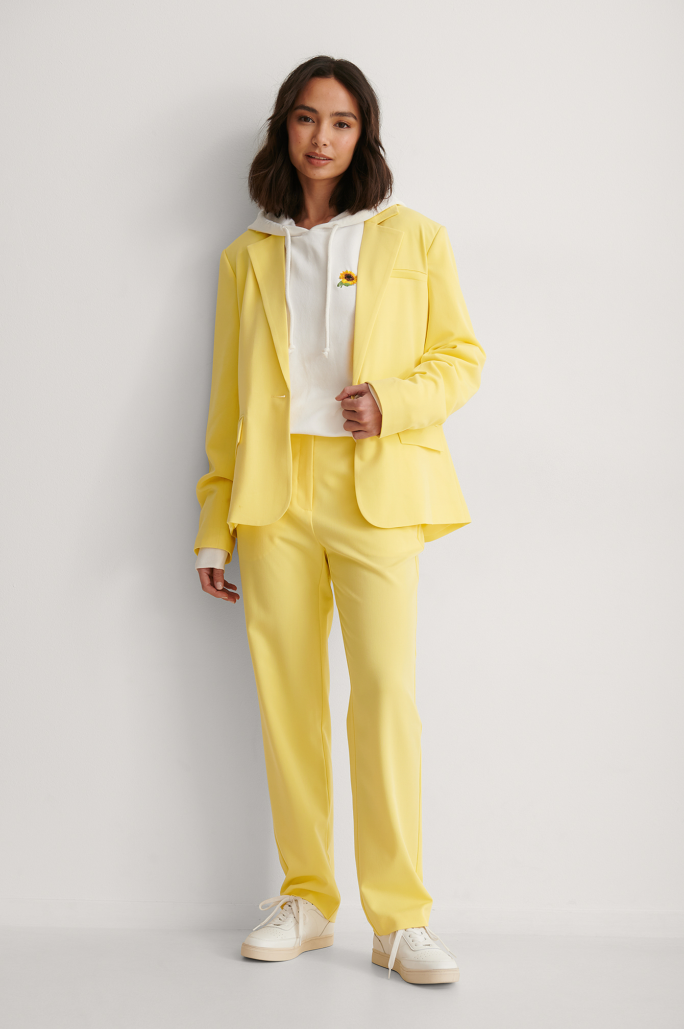 Yellow High Waist Straight Fit Trousers