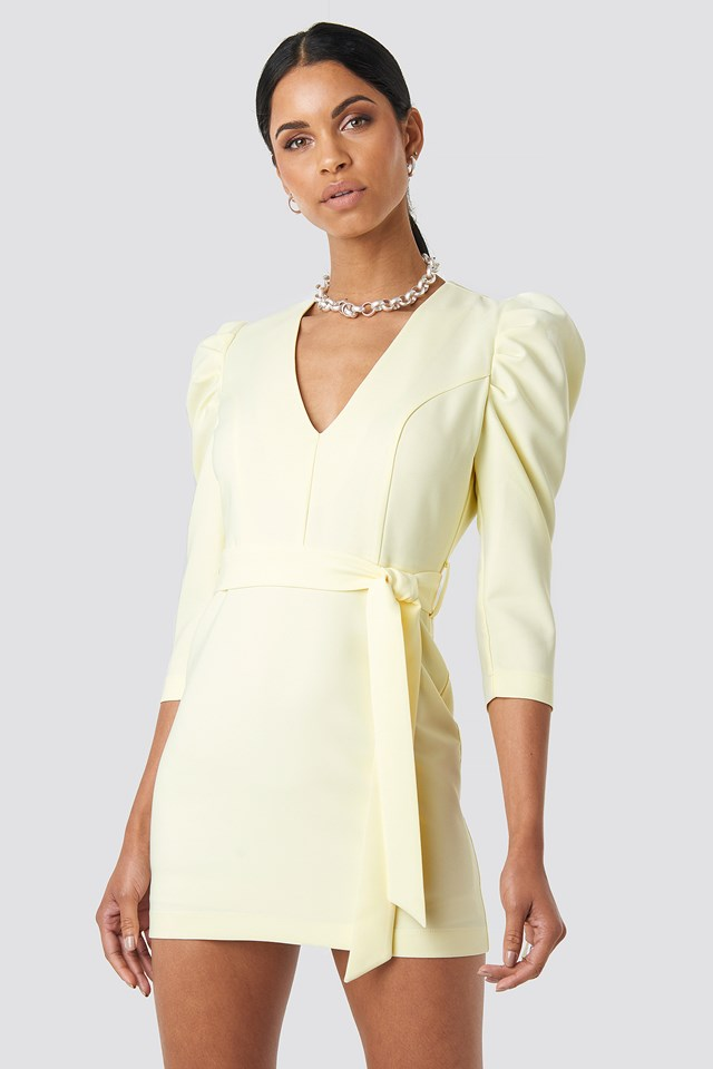 Belted Puffy Sleeve Dress Light Yellow