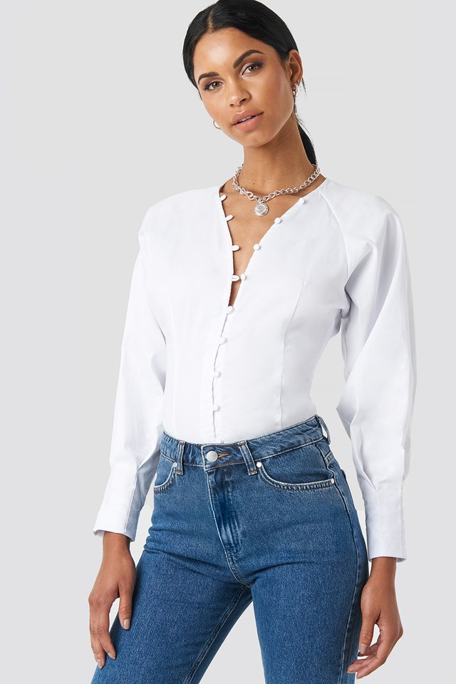 Button Up Puffy Sleeve Blouse White