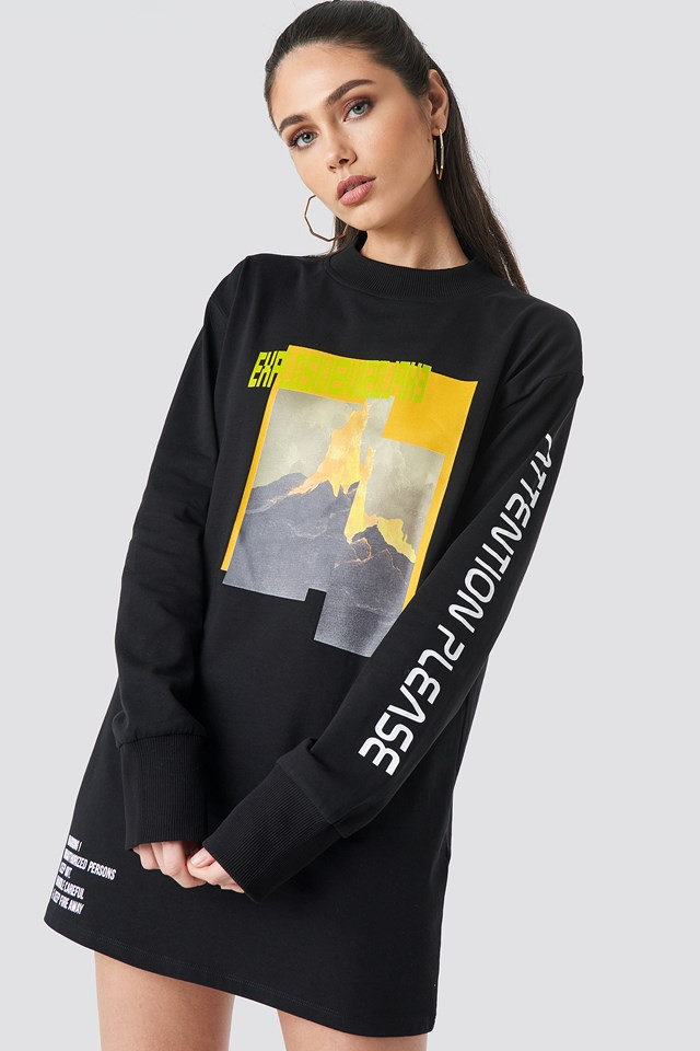 Explosive Long Sleeve T-shirt Dress Black