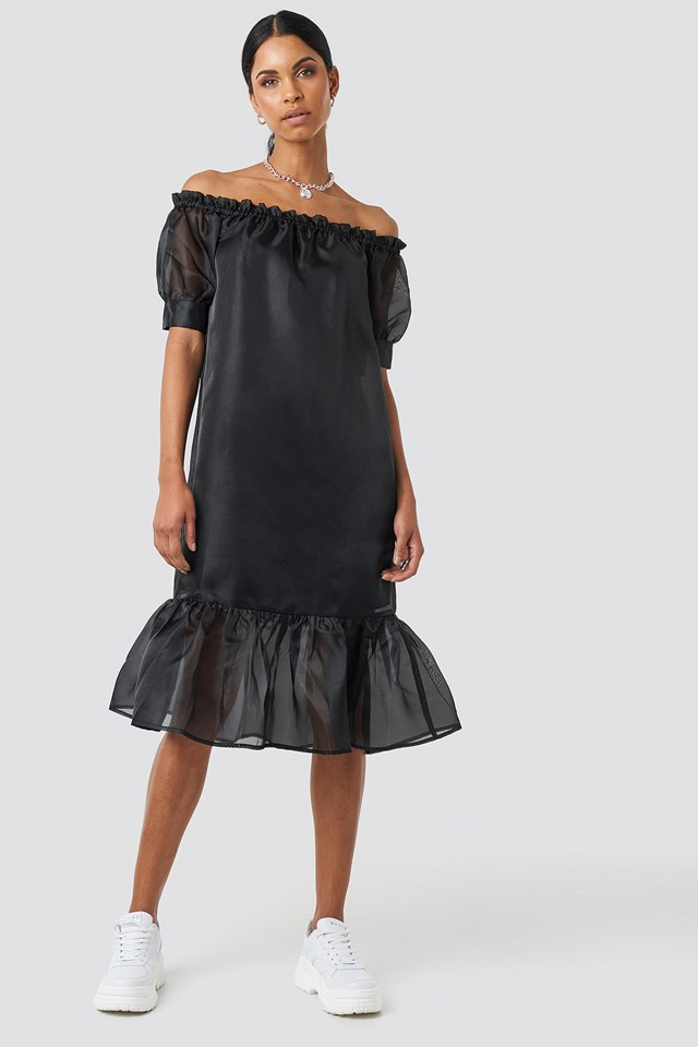 Off Shoulder Puffy Mid Flounce Dress Black