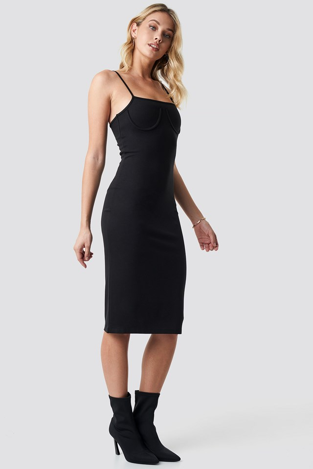 Midi Cup Shape Dress Black