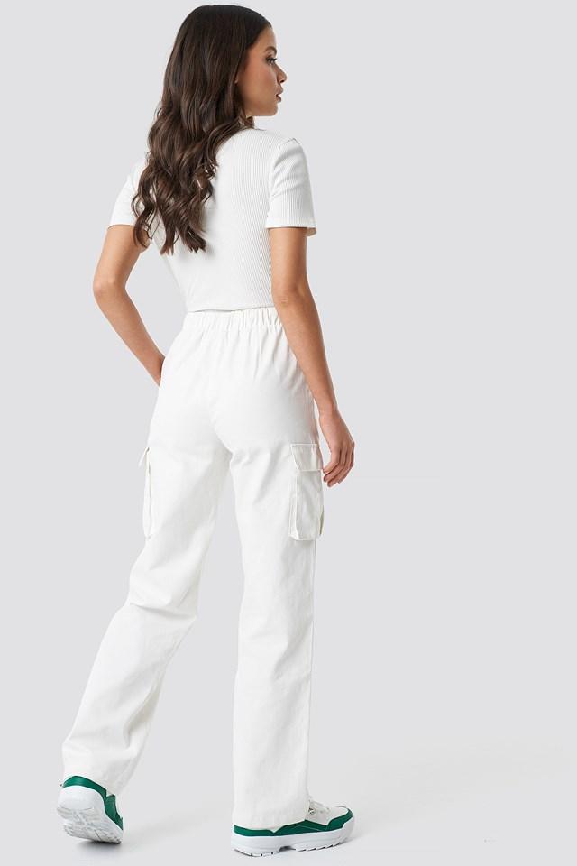 Drawstring Cargo Pants Ivory