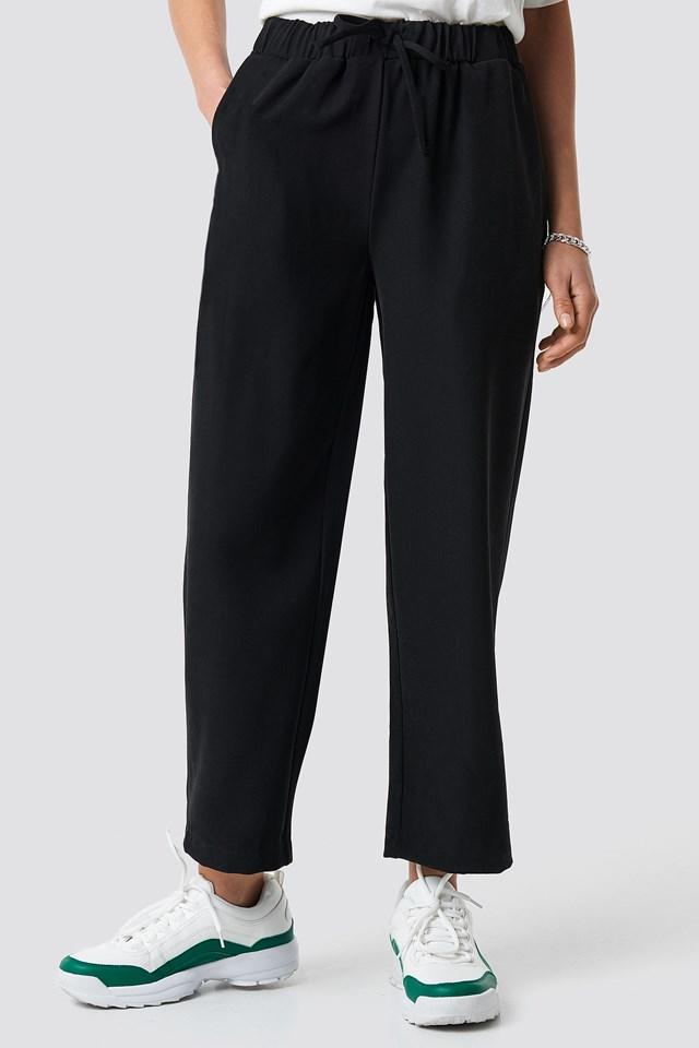 Drawstring Suit Pants Black