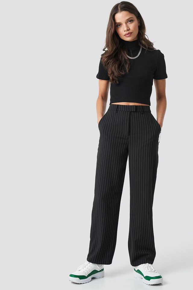 Pinstripe Pants Black