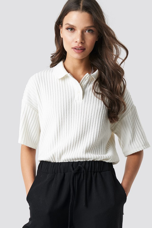 Ribbed Polo Shirt Ivory