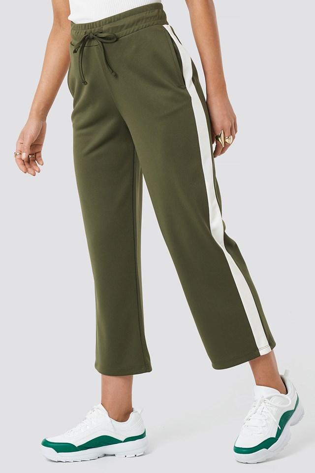 Side Stripe Pants Olive