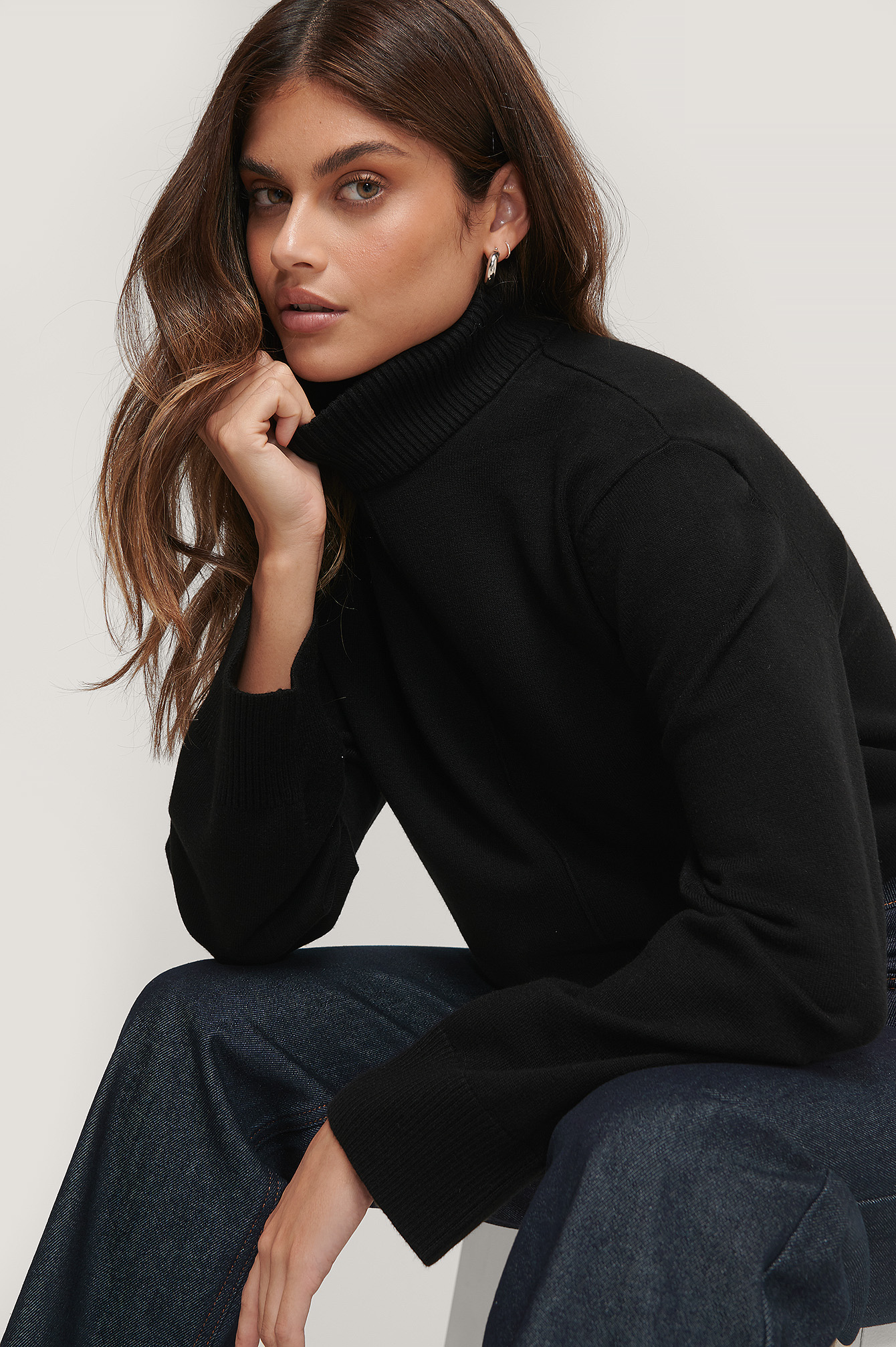 Black High Neck Knitted Sweater
