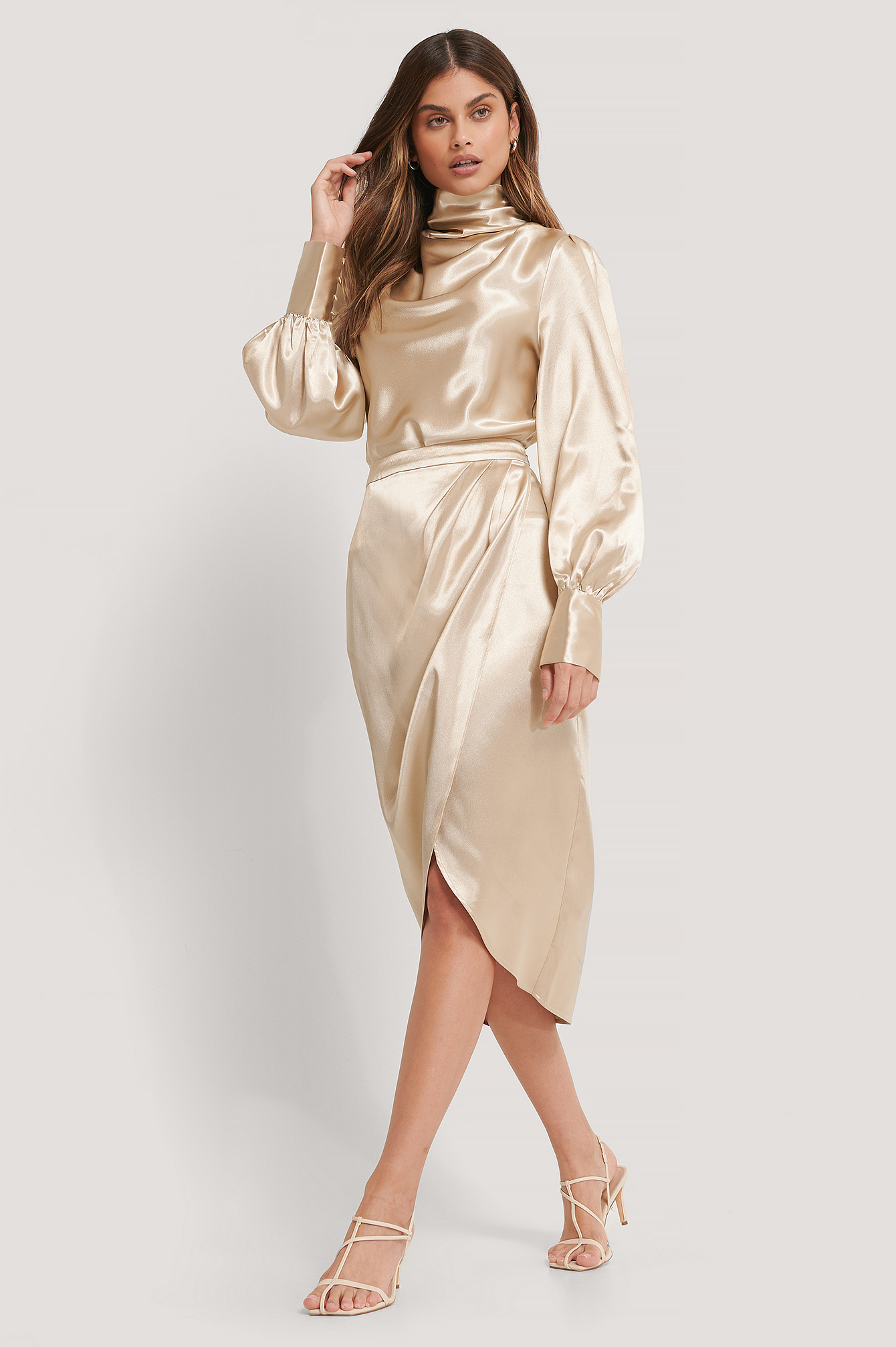 Beige Overlap Satin Skirt