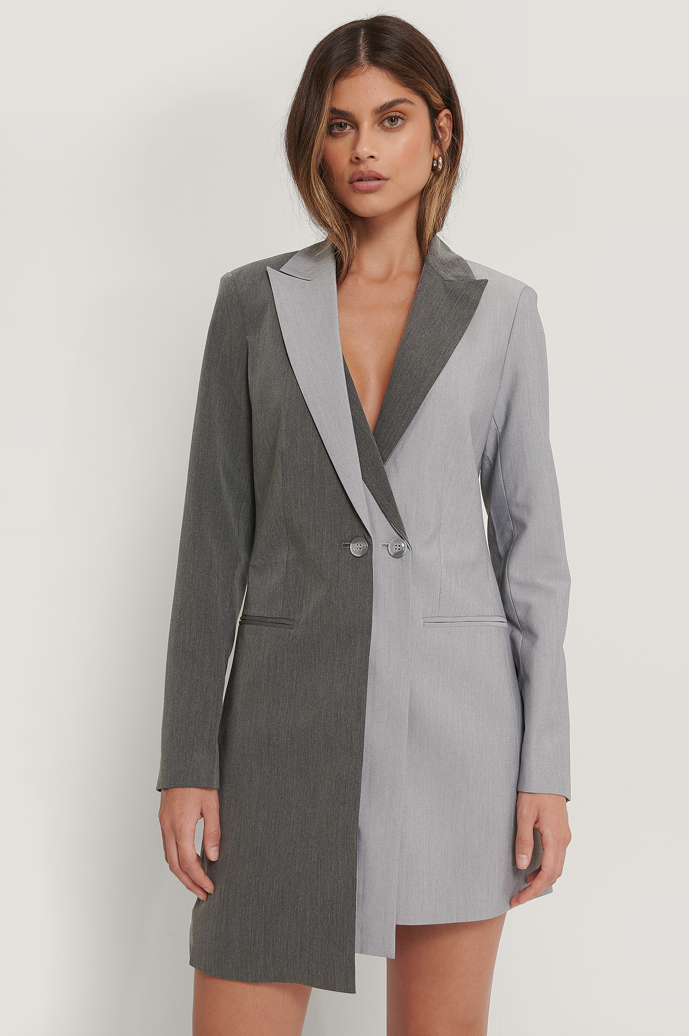 Grey Two Layered Blazer Dress