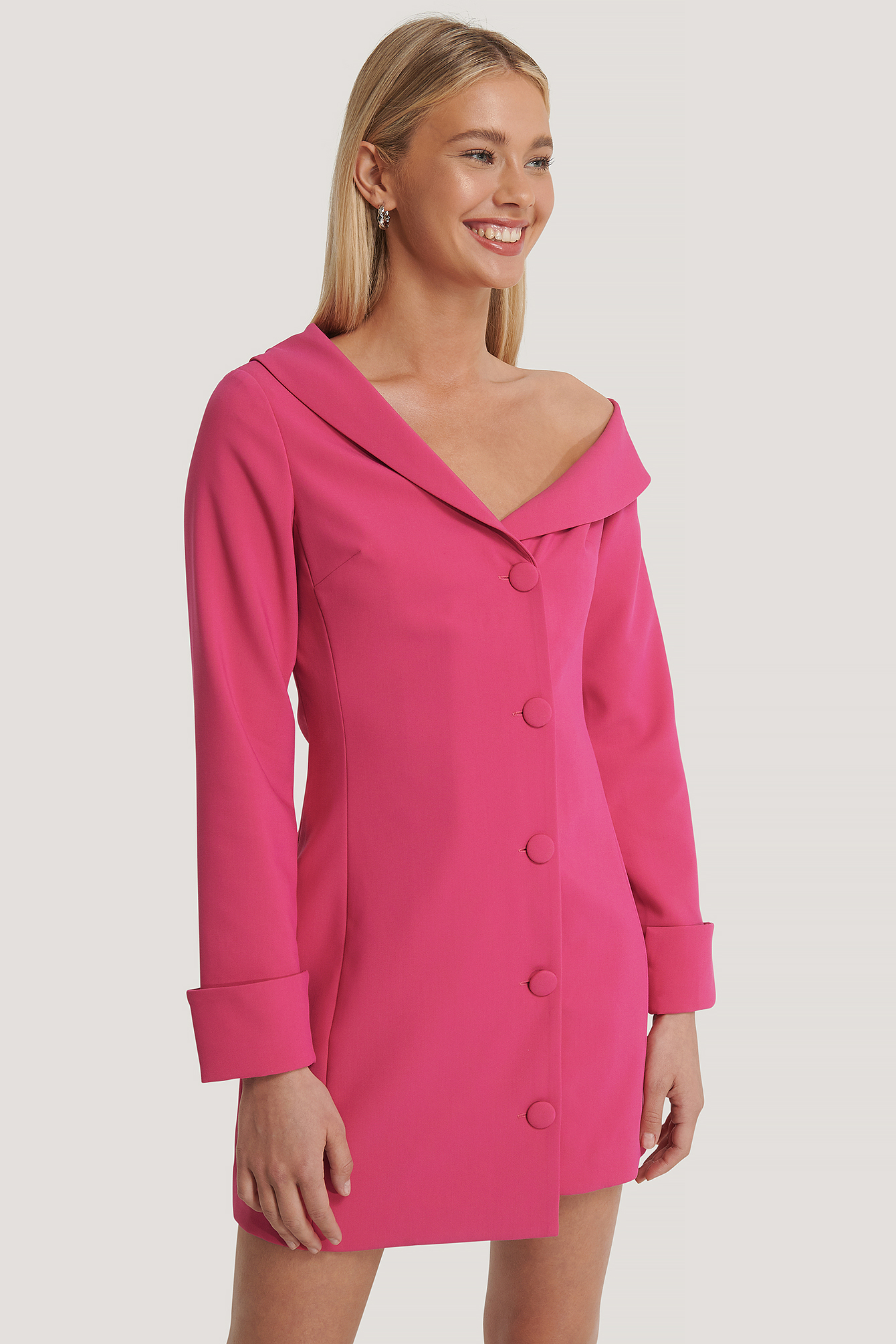 Pink Slip Shoulders Mini Dress