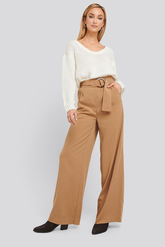 Belted Wide Leg Pants NA-KD Classic